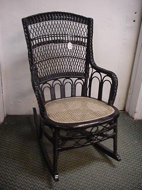 17: Black Wicker Lace Cane Seat Rocker: