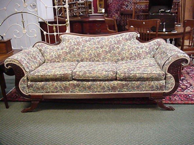 18: Mahogany Framed Cornucopia Carved Sofa:
