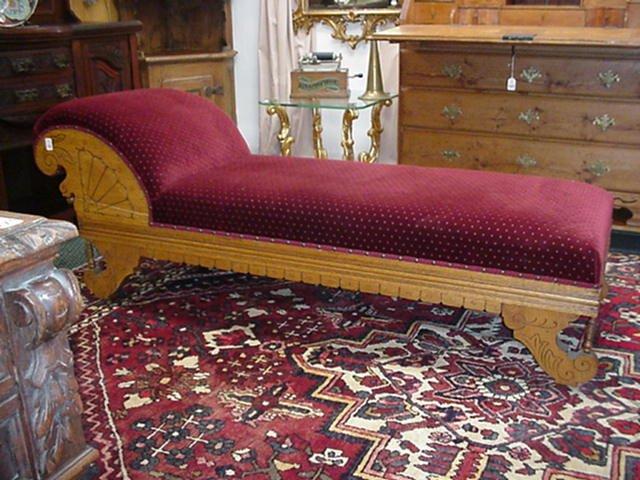 19: Oak Carved Velvet Upholstered Chaise Loun