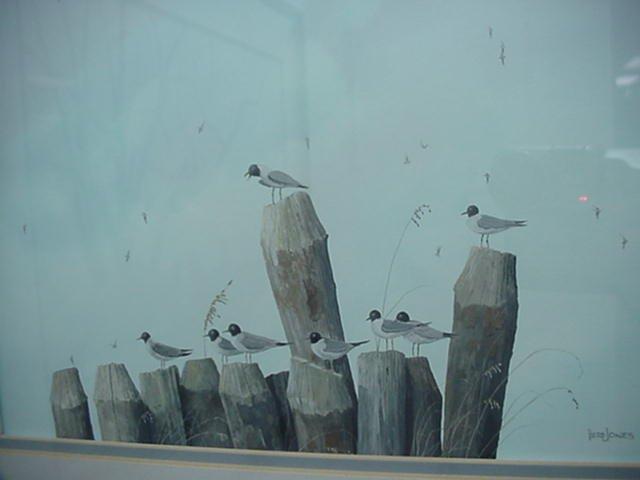 236: Original Herb Jones Seagulls on Pilings: