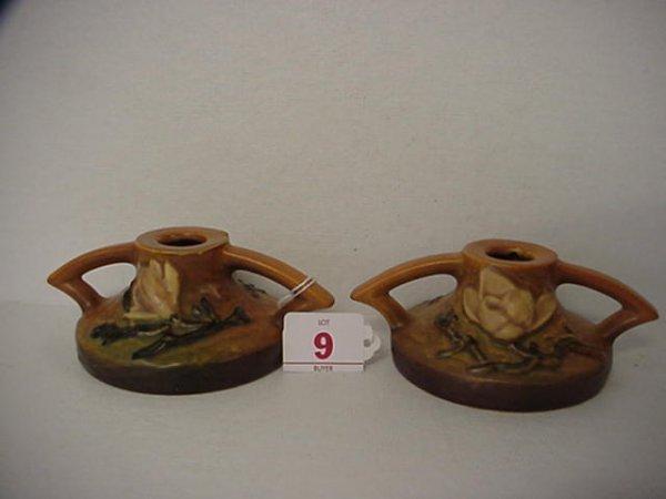 9: ROSEVILLE Magnolia 1940 Tan Candle Holder 1156-2 1/2