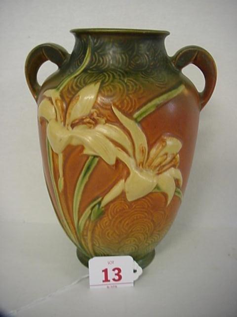 13: ROSEVILLE ZEPHYR LILY 1940 Tan Double Handle Vase
