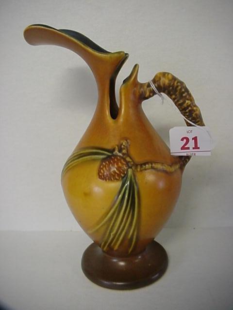 21: ROSEVILLE Pinecone 1931 Brown Ewer 709-10: