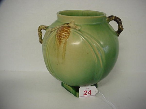 355: ROSEVILLE Pinecone 1931 Double Handle Vase: