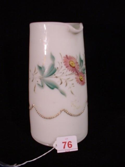 360: HEISEY Hand Painted Beaded Swag Milk Glass Pitcher