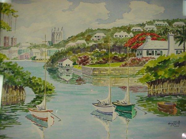 663: MARY ZUILL Watercolor on Paper Bermuda Landscape: - 2