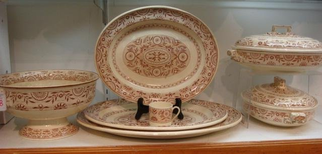 WEDGWOOD Brown Transferware Aesthetic Movement Pieces: