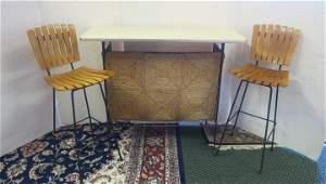 Handmade Metal Rod Frame Bar & 2 Mid Century Stools: