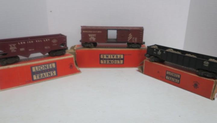 Three LIONEL ROLLING STOCK with Boxes:
