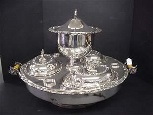 Revolving Silver Plate Supper Dish Set