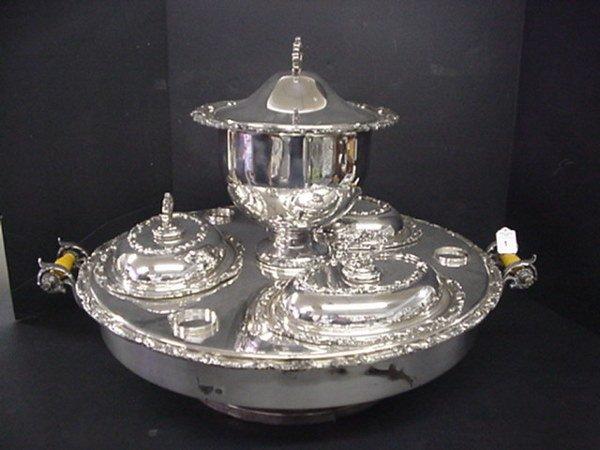 1: Revolving Silver Plate Supper Dish Set: