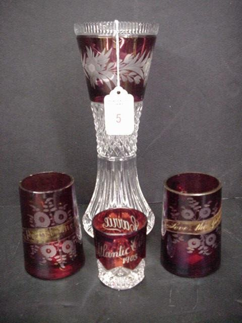 5: 2 Ruby Mugs, Souvenir Tumbler, Ruby and Clear Vase: