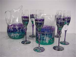 Handcrafted Romanian Pitcher, 5 Flutes and Ice Bucke