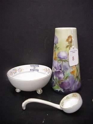 Signed Bavarian Vase & Nippon Sauce Bowl