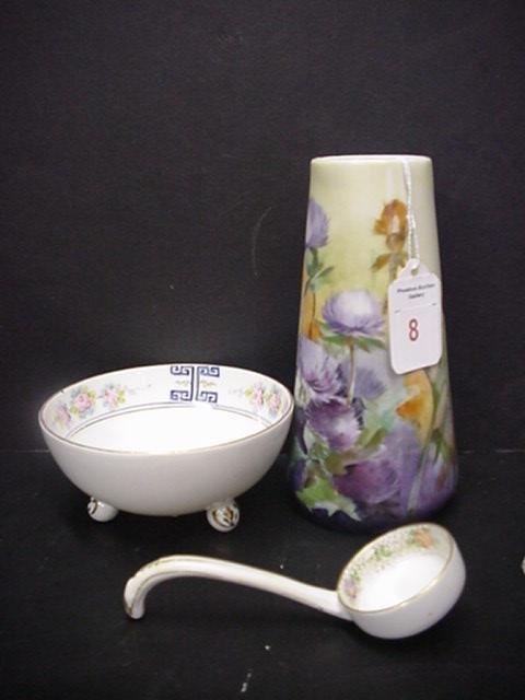 8: Signed Bavarian Vase & Nippon Sauce Bowl: