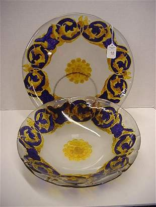 Glass Bowl and Charger, Frosted with Cobalt Design