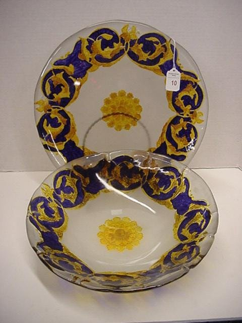 10: Glass Bowl and Charger, Frosted with Cobalt Design: