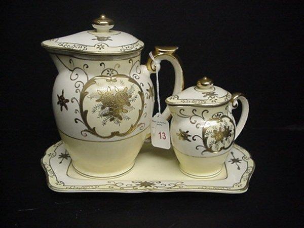 13: 3 Piece Japanese Porcelain Tea Set: