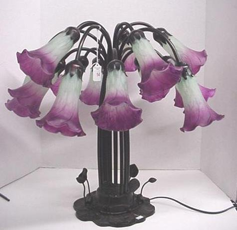14: Table Lamp with 15 Trumpet Flower Lights: