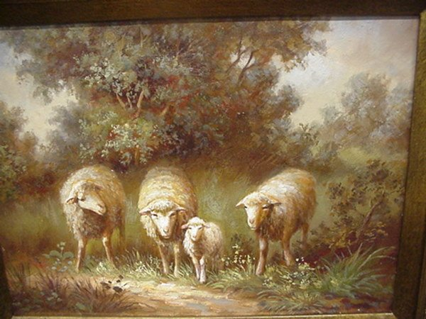 15: Flock of Sheep Oil on Canvas in Gold Frame: