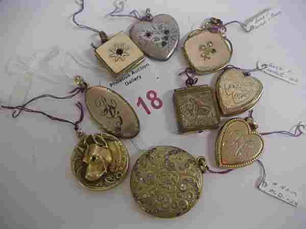 9 Gold and Silver Vintage Lockets and 4 Gold Crosse