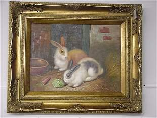 Oil on Canvas Bunny Hutch in Gold Frame