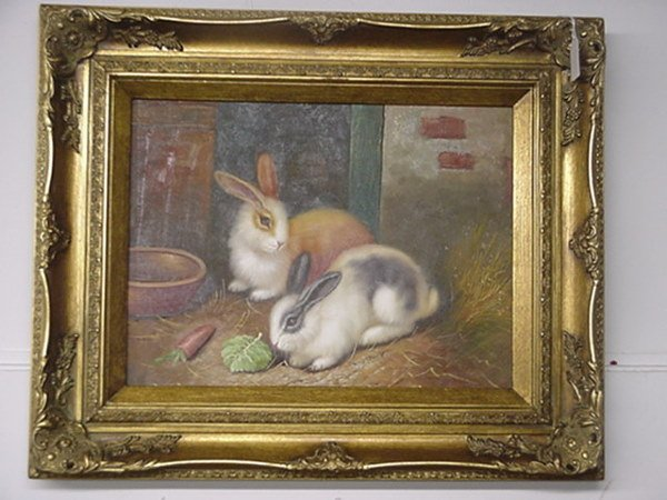 19: Oil on Canvas Bunny Hutch in Gold Frame: