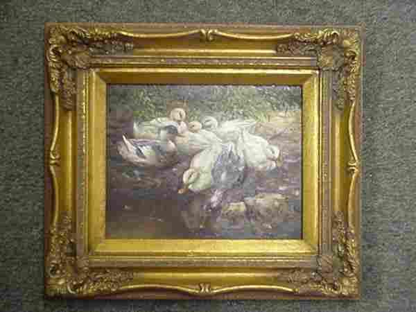 Oil on Masonite Flock of Ducks in Gold Frame