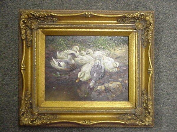 20: Oil on Masonite Flock of Ducks in Gold Frame: