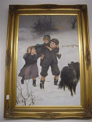 Oil on Canvas Children in Snow in Carved Gold Frame