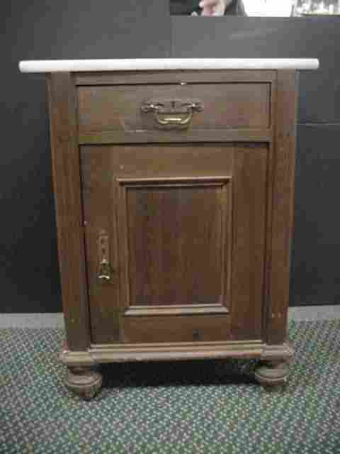 Late 19th C. Marble Top Poplar and Pine Cabinet