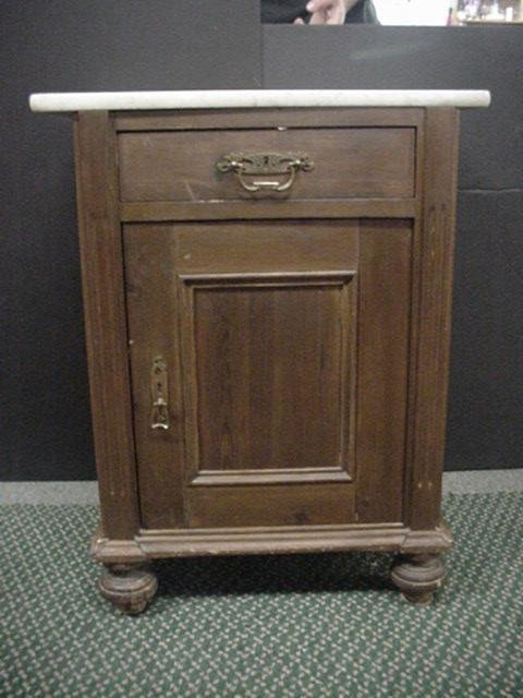 24: Late 19th C. Marble Top Poplar and Pine Cabinet: