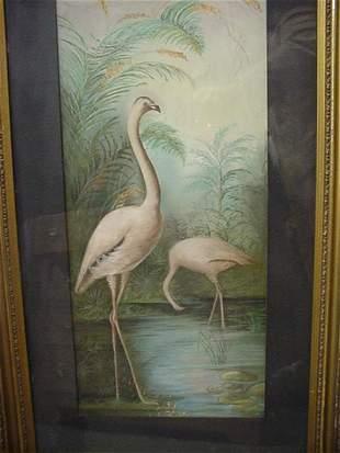 Gold Framed Flamingo Pastel on Card Stock