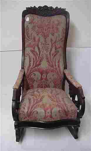 19th C. Floral Carved Victorian Rocking Chair