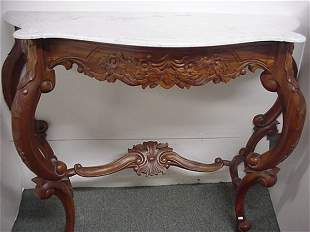 French Influenced Marble Top Hall Table
