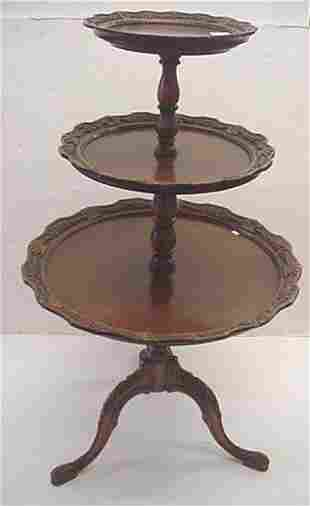 3 Tier Ornately Carved Mahogany Muffin Stand
