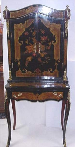 2 Piece Egyptian Gilt Decorated Cabinet Desk