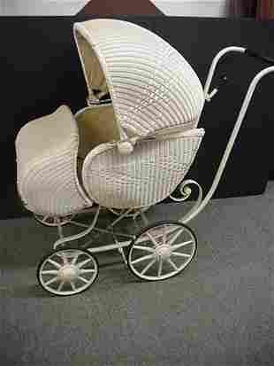 Vintage Kitner Wicker Baby Carriage