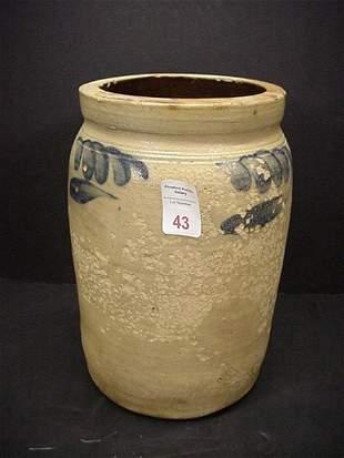 1 1/2 Gallon Blue Flashed Gray Stoneware Crock