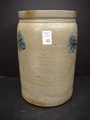 3 Gallon Blue Flashed Gray Stoneware Crock