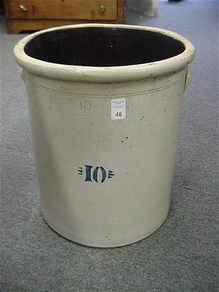 10 Gallon Blue Decorated Gray Stoneware Crock