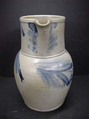 Blue Brush Decorated 2 Gallon Stoneware Pitcher