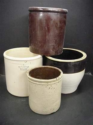 4 Vintage Stoneware Crocks