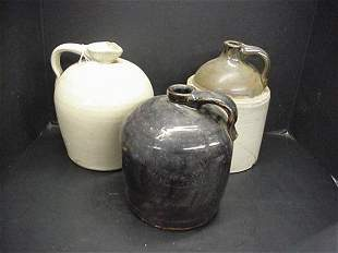 3 Vintage Stoneware Crock Jugs