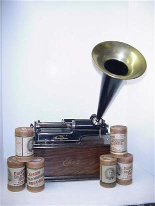 Edison Crank Cylinder Phonograph with Horn