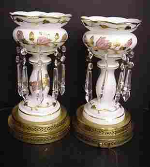 Pair of Electric Satin Glass Lusters