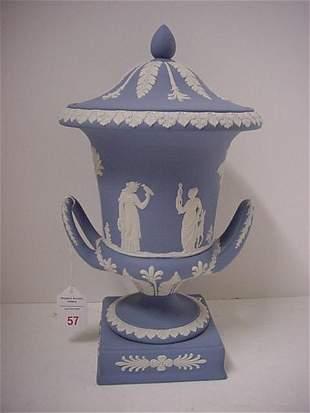 Blue Wedgwood Jasperware Covered Urn on Plinth