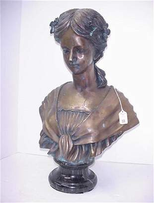 Bronze Bust of Young Girl on Marble Base