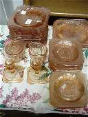 64: 44 Pink Jeanette Glass Adam Pattern Dinnerware: