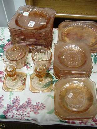 44 Pink Jeanette Glass Adam Pattern Dinnerware